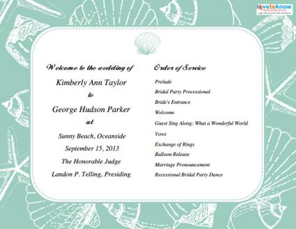 Programs For Beach Weddings