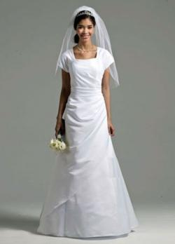 David's Bridal Short Sleeve Satin A-line Gown