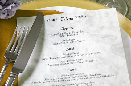 Includes: ideas for free wedding menus