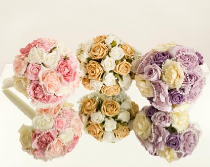 Three silk bouquets