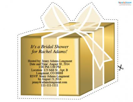 Gift-shaped bridal shower invitation