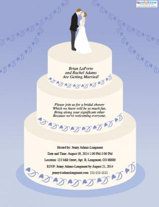 Wedding cake-shaped bridal shower invitation