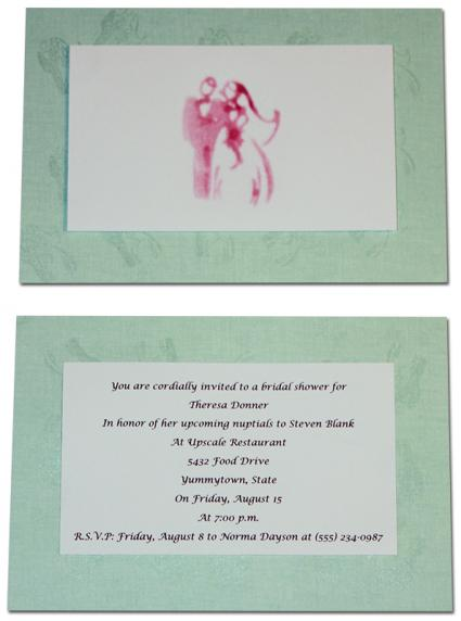 stamped bridal shower invitation
