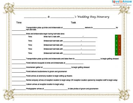 Template For A Wedding Day Itinerary LoveToKnow - Wedding day itinerary template