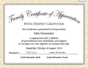 Printable wedding certificates for fun lovetoknow family certificate of appreciation yelopaper Images