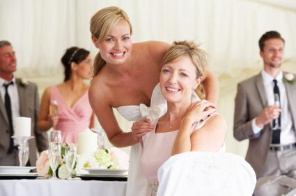 bride with mom at reception