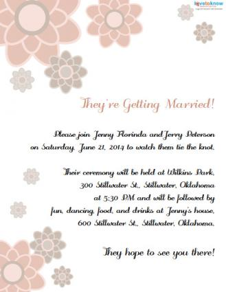 Invitation wording for a casual wedding floral invitation stopboris Image collections
