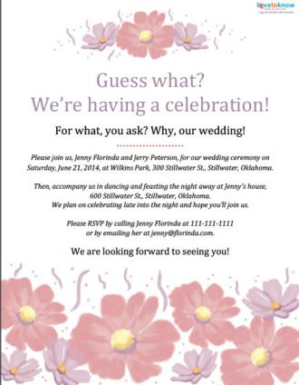 Samples of wedding announcement wording lovetoknow flower invitation stopboris Choice Image