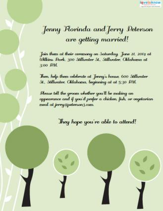 Invitation wording for a casual wedding tree invitation filmwisefo