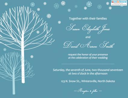 Invitation Wording For Winter Party. Winter Wedding Invitation Trees Invitations  LoveToKnow