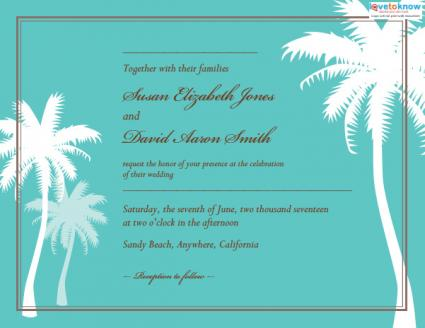 Beach Wedding Invitation Palm Trees