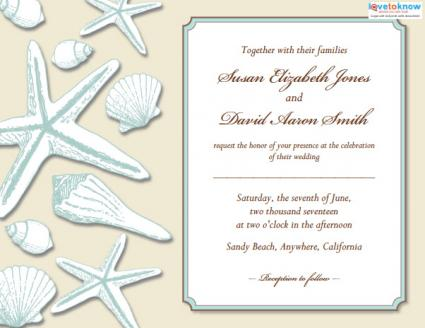Beach Wedding Invitation Palm Seashells