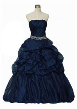 Navy Blue Bridal Satin and Organza Gown
