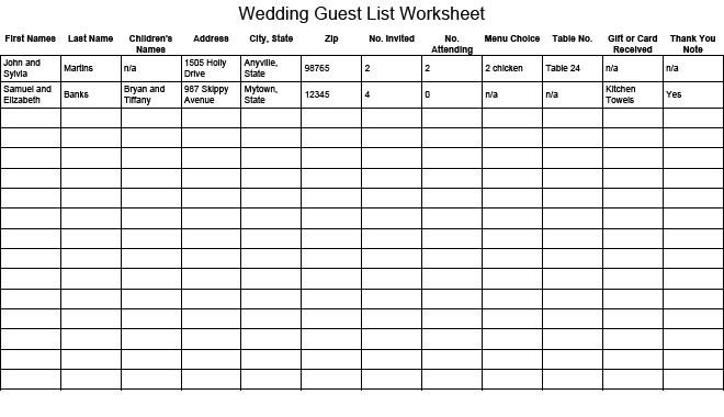Printable Wedding Guest List Worksheet