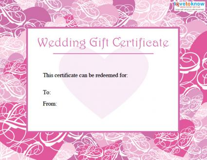 Printable wedding gift certificates free wedding gift certificate yadclub