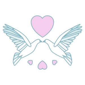 two doves with heart