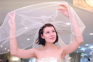 Bride in wedding salon