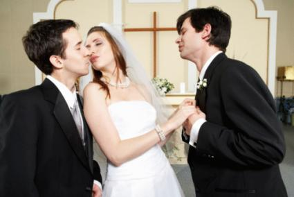 Bride kissing best man
