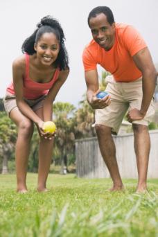 Couple playing bocci ball