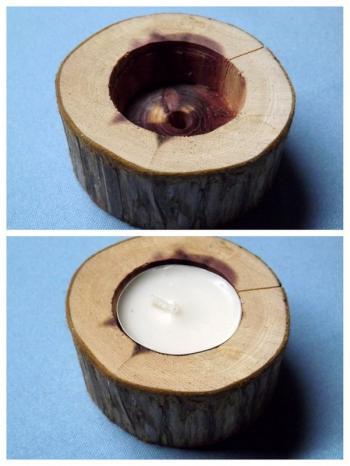 Drill your hole and insert the tealight.