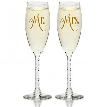 Mr. & Mrs. Gold Champagne Flutes