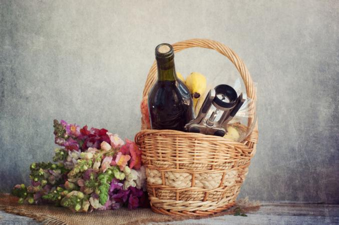 Bottle of wine in basket