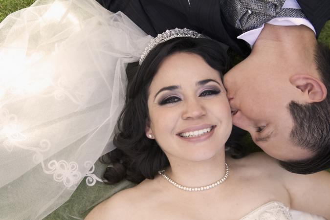 Hispanic bride and groom