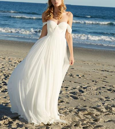 Lovelybride Elegant a Line Empire Long Chiffon Bridal Beach Wedding Dress
