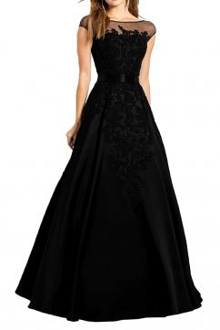 MILANO BRIDE Gorgeous Evening Dress Pageant Gown Illusion-Neck Ball Gown Applique