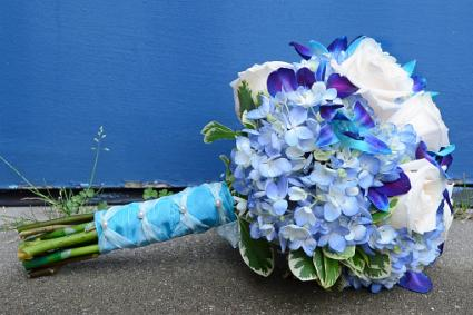 wedding bouquet with blue hydrangeas