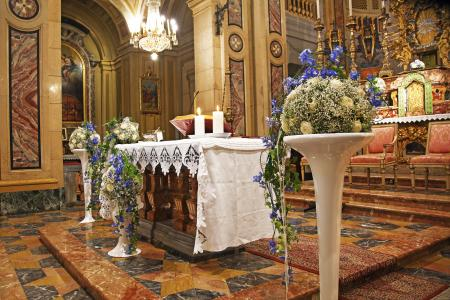 wedding altar with tall flower pedestals