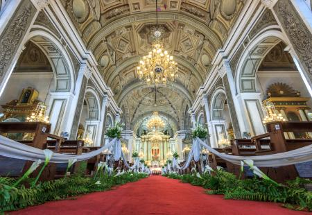 Ornate cathedral with wedding flowers