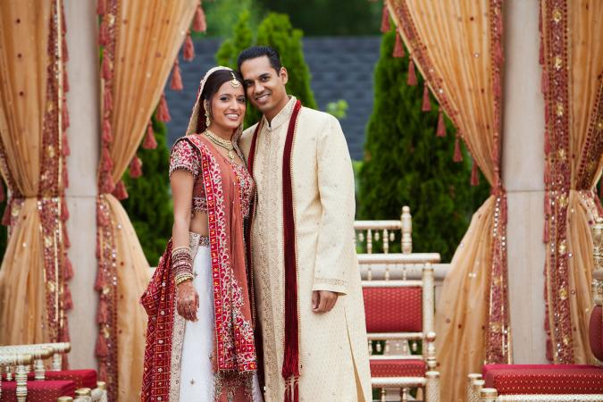 Indian couple in traditional wedding clothing