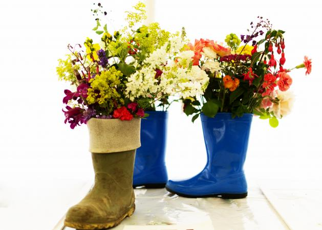 Wellies used as flower planters