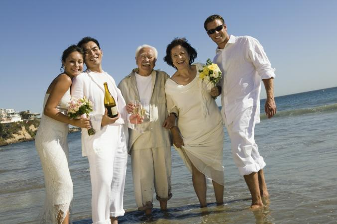 Wedding Guests Celebrating On Beach