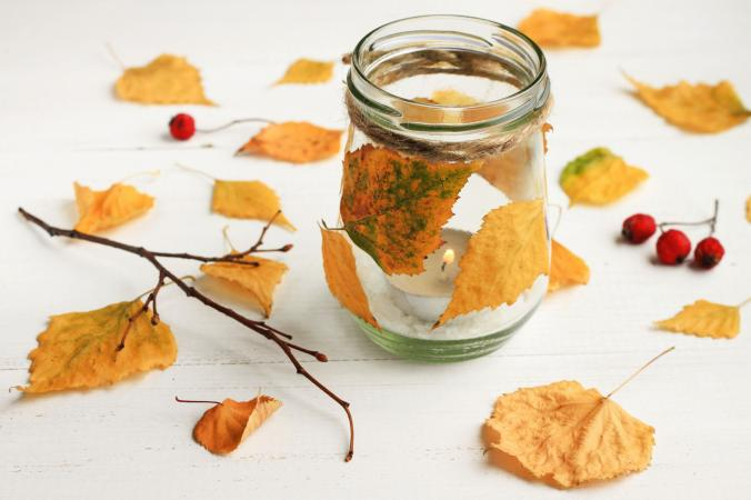 Autumn leaf candle jar favor project