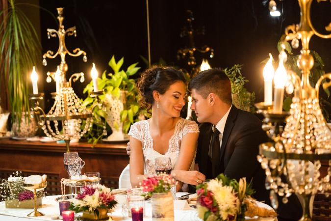 Newlywed couple sharing romantic moment