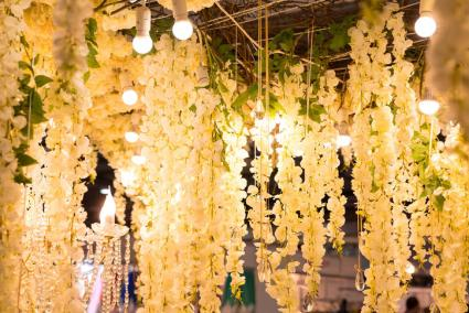 Hanging white ceiling florals
