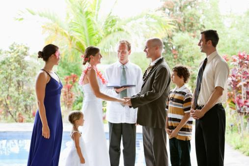 Casual wedding ceremony