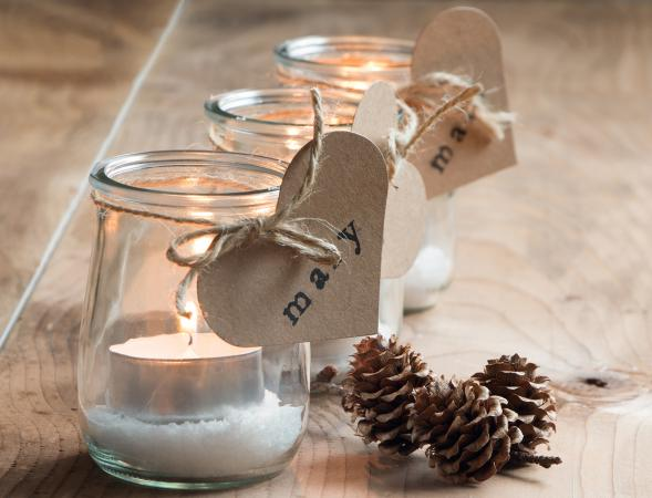 Winter candle wedding favors