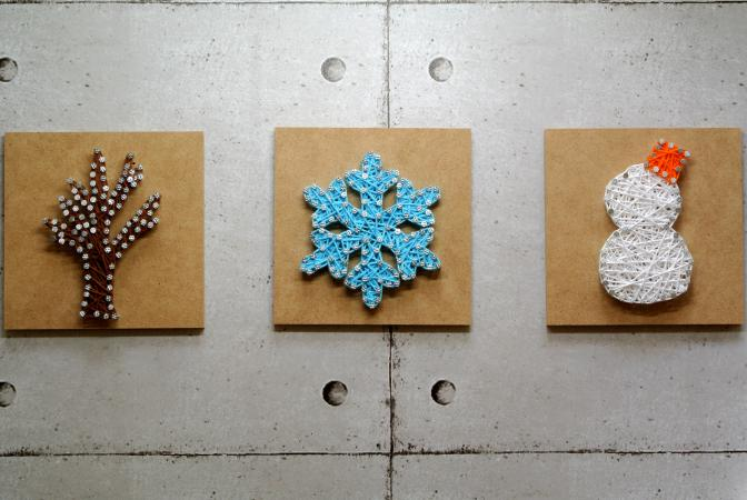 3 panels winter themed string art