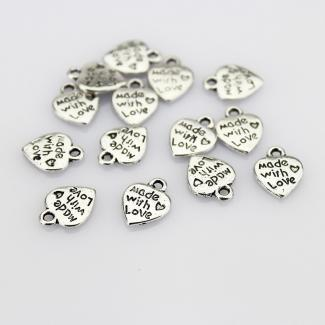 Made with Love Heart Charms
