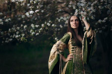 Green Renaissance wedding dress