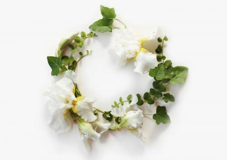 floral wreath with ivy and iris