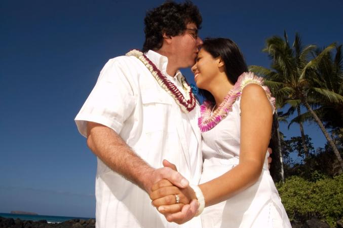 Hawaiian wedding bride and groom