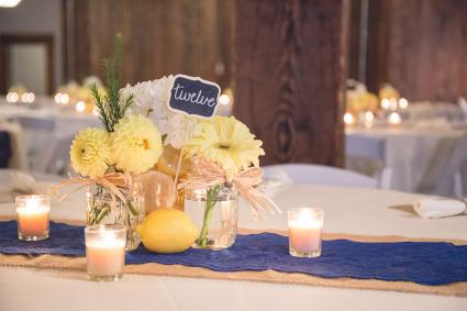 Blue and Yellow Burlap Decorations