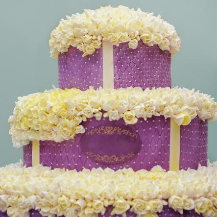 Delicious big violet wedding cake