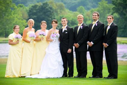 Bridal Party Portrait with Lake Background