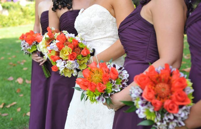 grape and orange wedding