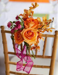 orange, pink, yellow chair decoration